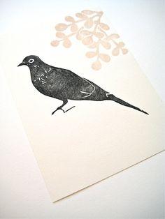Black Dove ORIGINAL linoleum print on paper 7 x by kathleenlaufman,