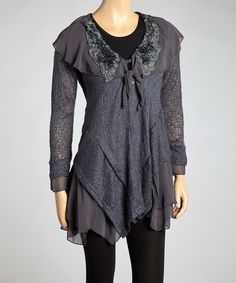 Inspiration piece - sheer fabric on shoulders. Look what I found on #zulily! Dark Gray Ruffle Linen-Blend Asymmetrical Tunic by Pretty Angel #zulilyfinds