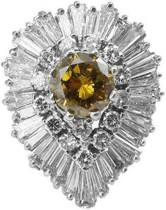 """18K White Gold Giacognac Diamond """"Ballerina"""" Cluster Ring"""