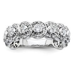0.88 ctw Sterling Silver Diamond Wedding Band