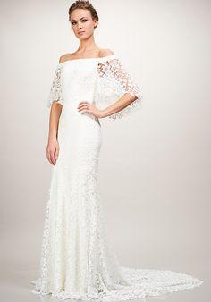 Off the shoulder lace wedding dress | THEIA's Sasha Wedding Dress | http://trib.al/Ayk4rtb
