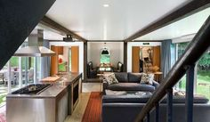 Great room in shipping container home