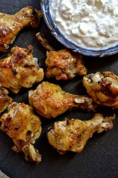 Crispy Baked Greek Chicken Wings with Feta Dipping Sauce _ Oh yeah…this is happening!