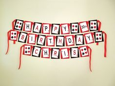 Printable DIY Red and Black Casino Night Poker Playing Card Theme Birthday Banner. $8.00, via Etsy.