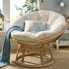 """Our Papasan frame is handcrafted of natural—and naturally durable—rattan, with a lacquer finish.   <span class=""""mini-upsell"""" data-launch=""""true"""" data-verbose=""""true"""" data-productName=""""Cushions"""" data-skus=""""PV210-1:1""""></span> <span class=""""mini-upsell"""" data-launch=""""false"""" data-verbose=""""true"""" data-productName=""""Papasan Stool"""" data-skus=""""2705357:1""""></span>"""
