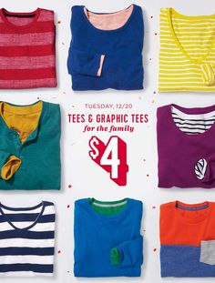 "12.20 old navy ""$4 TEES (in ALL the colors!!)"""