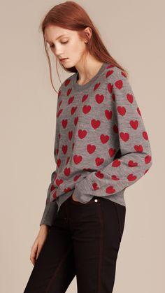 Heart Print Merino Wool Sweater Mid Grey Melange | Burberry