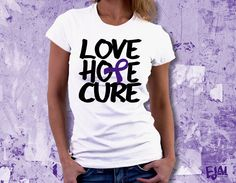Fibromyalgia Epilepsy Alzheimers Cystic Fibrosis Pancreatic Cancer Chiari Crohns Domestic Violence Colitis Lupus Purple Awareness T-shirt by EjaiDesigns on Etsy (null)