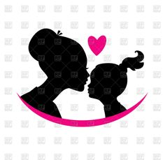Mom and daughter love - black silhouette of heads with heart . Mother Daughter Quotes, Daughter Love, Mother And Child, Silhouette Clip Art, Black Silhouette, Free Vector Clipart, Vector Graphics, Free Mom, Tattoos For Daughters