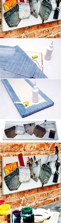 This is so cute. Denim pockets to hold hands pencils and whatnots.