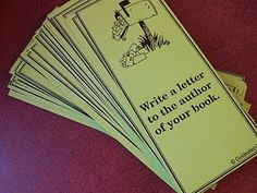 Reading Project Cards- - can't wait to try these out with my high group!