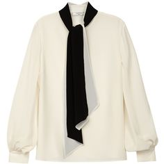 Lanvin Ivory silk blouse (9,470 HKD) ❤ liked on Polyvore featuring tops, blouses, ivory blouse, neck ties, tie-neck blouses, silk tie neck blouse and neck tie blouse