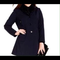 Jones NY wool coat w/ detachable Faux fur collar NWT. Buttons up. Fully lined. Size 0x fits like a 10/12 - 12/14 Jones New York Jackets & Coats