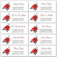 Christmas floral individual guest address labels