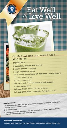Soup in the summer? Why not! Chilled Avocado and Yogurt Soup with Melon recipe. #OLW