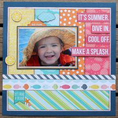 My Creative Scrapbook- July Creative Kit Echo Park Paper- Summer Party Collection Bridal Shower Scrapbook, Baby Scrapbook, Scrapbook Paper, Scrapbook Sketches, Scrapbook Page Layouts, Scrapbooking Ideas, Scrapbook Titles, Echo Park Paper, Photo Layouts
