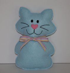 Little Blue Kitty Cat felt Softie Christmas by FrogBlossoms, $5.00 #pcfteam
