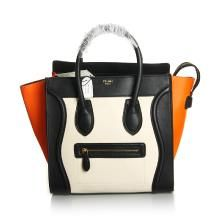 Celine 1:1 Grade Imported Calfskin Leather Nano Shopper Tote Bag - Orange/Black/White