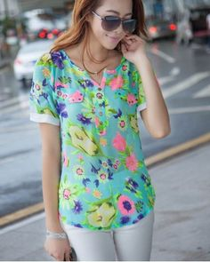 Cool Summer puff sleeve flowers print Chiffon shirt