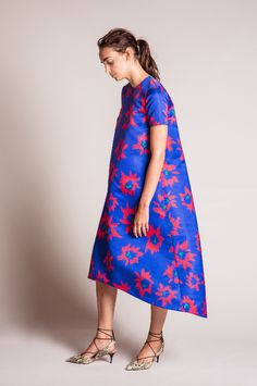 EDIT The Brand SS16 Collection - Maxi Hi Lo Cobalt Flower Print Satin Dress