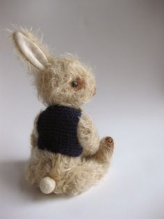 Mohair Rabbit with blue sweater from foxandowl
