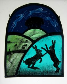 Tamsin Abbott Spirits of the Spring Equinox. Engraved, painted hand-made glass.