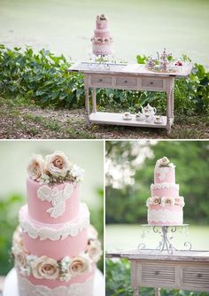 Vintage theme: pink-ace-wedding-cake-Southern-Wedding-Inspiration-Tying.the_.Knot-Event