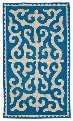 Felt - unique rugs for traditional and contemporary interiors - the first company to source shyrdak felt rugs direct from nomadic makers across Kyrgyzstan and import them for sale in the UK. Teal Carpet, Patterned Carpet, Stencil Patterns, Textile Patterns, Baroque Pattern, Wool Embroidery, Cheap Carpet Runners, Unique Rugs, Cool Rugs