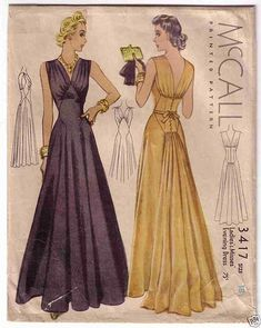 I like the idea of the gathers at the shoulders; I need all the volume in the bust I can get to balance out my hips <<< mccall 3417 | ca. 1938 Evening Gown