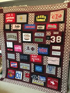 cleaning out those college shirts Jersey Quilt, College Shirts, Pli, Stitches, Cleaning, Quilts, Design, Stitching, Quilt Sets