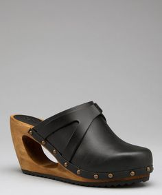 Take a look at this Black Wood Mogensen Merge Open Clog - Women by Sanita Clogs on @zulily today!