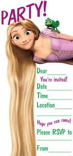 The Ultimate Working Mom's guide/list/ideas: Tangled Theme Party Invitations & Thank You Cards