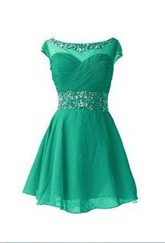Green Homecoming Dresses Zippers Capped Sleeves Aline Round Neck Mini Beadings