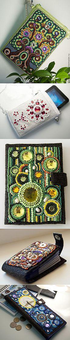Вышитые бисером сумочки и чехлы для планшетов от Александры.