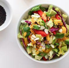 Asian Rainbow Salad with Spicy Mango Dressing / Simple Veganista