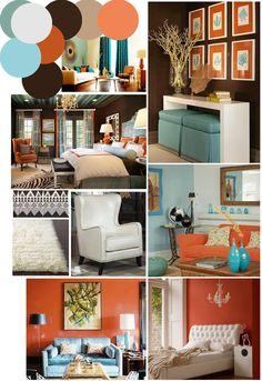 Beau Color Palette Inspo: Chocolate Brown, Coral And Robinu0027s Egg Blue. Burnt Orange  BedroomOrange ...