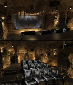 Batman Batcave Home Theater.Now that's a man cave for a home theater! At Home Movie Theater, Home Theater Rooms, Home Theater Design, Home Theater Seating, Dream Theater, Cinema Room, Home Theaters, Installation Home Cinema, Home Theatre