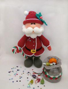 Santa, amigurumi crochet pattern pdf by jasminetoys on Etsy Crochet Santa, Christmas Crochet Patterns, Crochet Patterns Amigurumi, Crochet Dolls, Crab Stitch, Crochet Basics, Stuffed Toys Patterns, Crochet Projects, Christmas Crafts