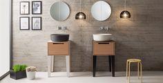 Scarabeo Mizu Basins and wood console #basins #sinks #bathroomdesign #scarabeo #bathroom #powderroom #woodvanity #vesselsink