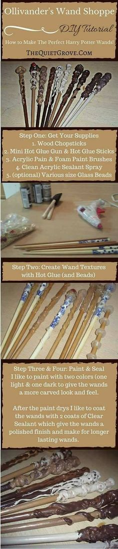 Harry Potter Costume Ollivander's Wand Shoppe: How to Make Perfect Harry Potter Wands! - Check out this easy tutorial for making Harry Potter Wizard Wands, Jeweled Fairy/Wizard Wands and Wizard Staffs! Classe Harry Potter, Harry Potter Wizard, Harry Potter Halloween, Harry Potter Theme, Harry Potter Birthday, Harry Potter Diy, Wizard Staff, Wizard Wand, Foam Paint Brush
