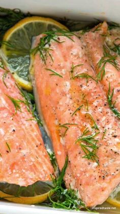 Salmon with Lemon and Dill How to make perfectly baked salmon in less than 30 minutes. You will love this easy and healthy salmon recipe!How to make perfectly baked salmon in less than 30 minutes. You will love this easy and healthy salmon recipe! Salmon Dishes, Fish Dishes, Salmon Food, Seafood Recipes, Cooking Recipes, Healthy Recipes, Recipes Dinner, Dinner Ideas, Chicken Recipes
