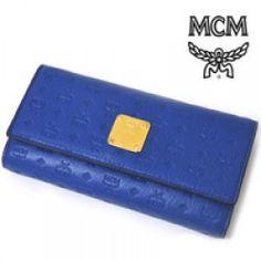 機能性抜群★人気の高いブルーモノグラム型押し長財布!MCM(エムシーエム) 長財布 ブルー レザー スナップボタン ロングウォレット MYM 1AIE44 LU001 販売価格:  10800円