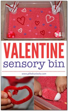 A simple Valentine Sensory Bin that promotes fine motor skills, language skills, and a creative imagination.