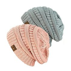 5b18cb1736d Exclusive Unisex Two Tone Warm Cable Knit Thick Slouch Beanie Cap