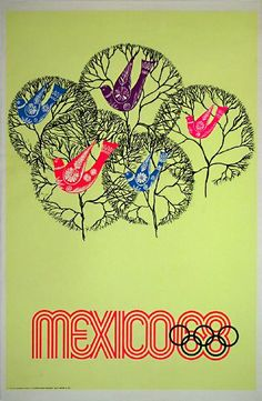 1968 Olympic games in Mexico Vintage Olympic Art Work from Karenza Paperie Blog