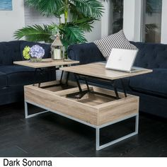 Lift Top Coffee Table Storage Pop Up Large Unique Brown Modern Accent Wood Desk Product Description: Store extra items in this lift-top coffee table with a casual modern design. Two solid middle secti Coffee Table With Raised Top, Lift Top Coffee Table, Rustic Coffee Tables, Diy Coffee Table, Coffee Table With Storage, Coffee Table Design, Table Storage, Teal Living Room Accessories, Teal Living Rooms