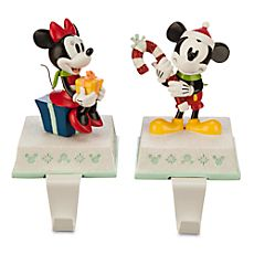 Mickey and Minnie Mouse Stocking Holder Set