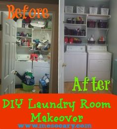 laundry room makeover for under 100, home decor, laundry rooms, can you spy the chain saw yup that s how sad this room used to be