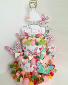 #Tartadechuches para la #Comunión de Aitana. Marshmallow Cake, Ballerina Birthday, Candy Bouquet, Candy Store, Cake Shop, Candyland, Holidays And Events, First Birthdays, Party Time