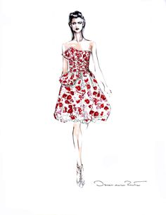 Ideeli are giving you the opportunity to win a one of a kind couture dress designed by Oscar de la Renta himself on June! Not only do you win the dress in your size BUT you win the gorgeous illustration of the dress signed by Oscar de la Renta… Fashion Art, Trendy Fashion, Fashion News, Classy Fashion, Fashion Shoes, Fashion Black, Sneakers Fashion, Korean Fashion, Girl Fashion